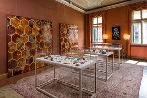 During 2017's Venice Art Biennale, artist Judi Harvest displays glasswork, paintings and a video installation in PROPAGATION: Bees + Seeds, part of Beauty and the Beast, an exhibition in Palazzo Tiepolo Passi, 2774 San Polo, Venice.